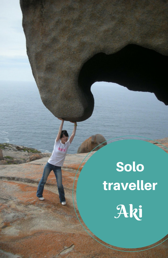 Solo female traveller Aki at Remarkable Rocks, South Australia