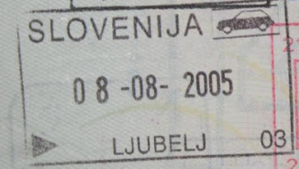 First trip to Slovenia - a Slovenian passport stamp