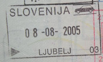 First trip to Slovenia - a Slovenian passport stamp