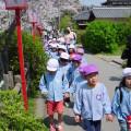 Japanese school kids at Koriyama-jo