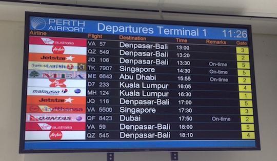 Perth Departures to Denpasar Bali