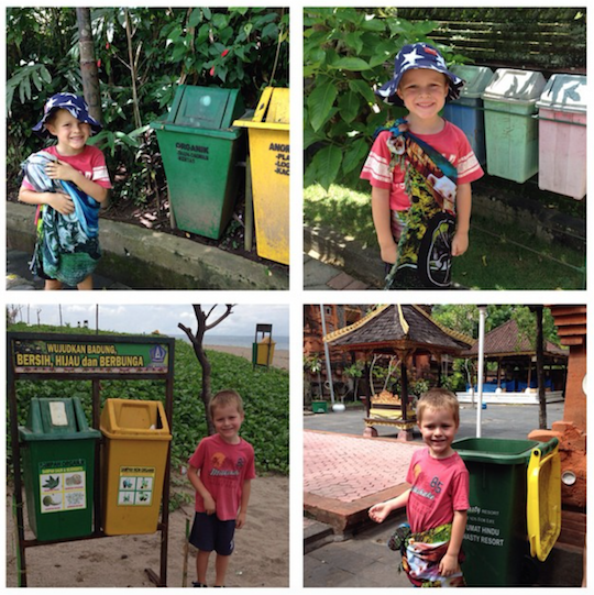 Young traveller passionate about bins in Bali