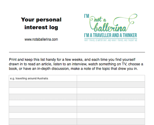 Not A Ballerina personal interest log