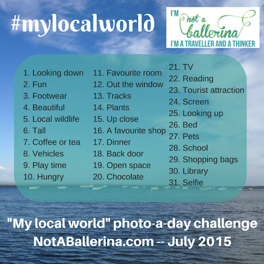 The photo prompts for the #mylocalworld challenge at NotABallerina.com