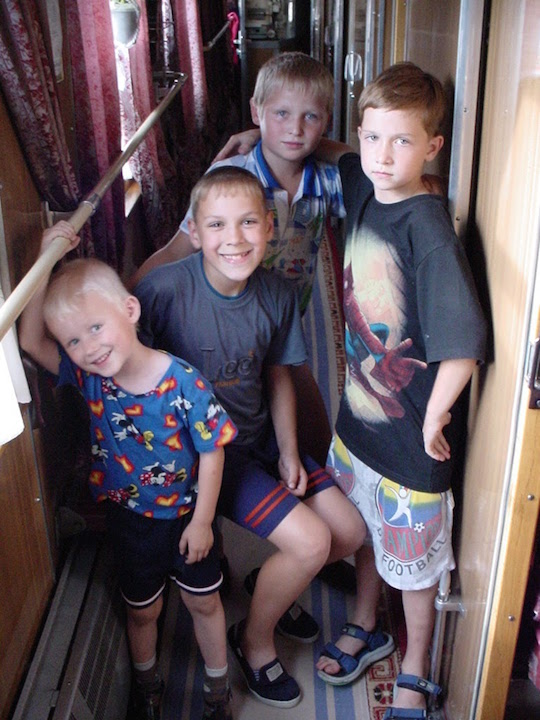 Meeting the local kids on the Trans-Siberian in Russia