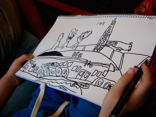 Eurail through Europe - my son draws the ICE train
