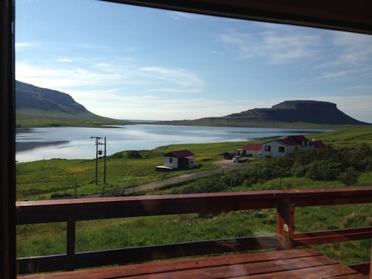 View from our Kirkjufell cabin away from the mountain, Iceland
