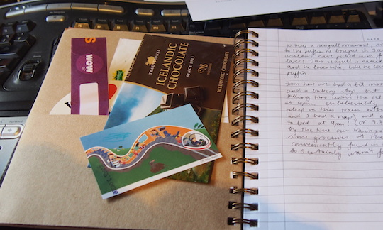 My travel journal and paraphernalia from Iceland and Germany