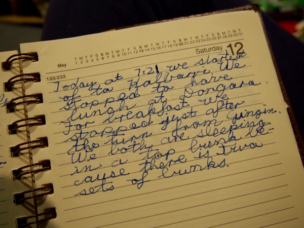 First travel journal entry in 1984 to Kalbarri
