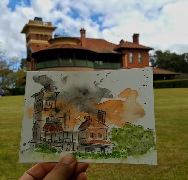 Aggie Lim - Sketch of Perth Observatory - The Thoughtful Travel Podcast