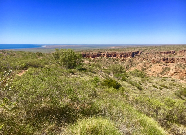 The bush near Exmouth with a view towards Ningaloo Reef, Western Australia