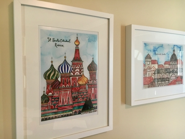 Travel souvenirs - prints of St Basils Cathedral and Dubrovnik from Etsy