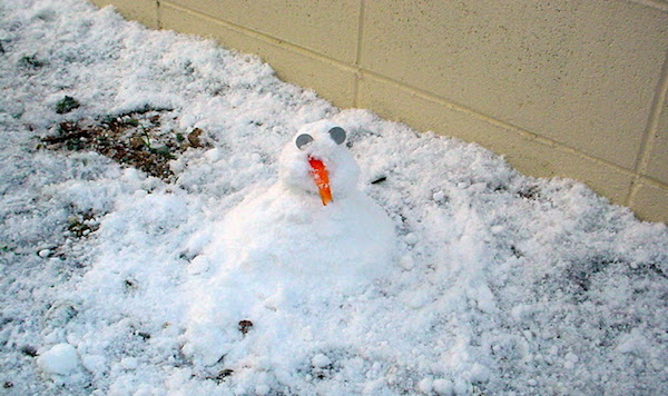 First snowman in Japan