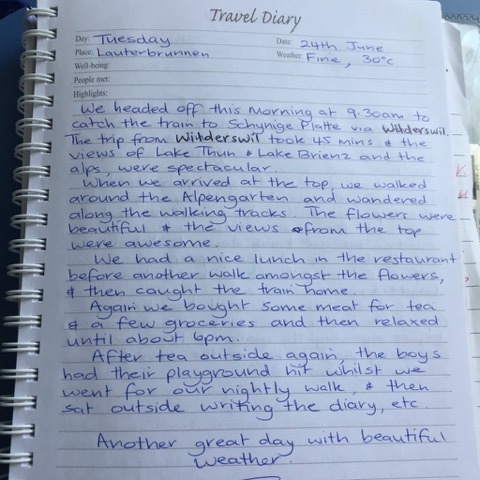 Hand-written travel diary for trip memories
