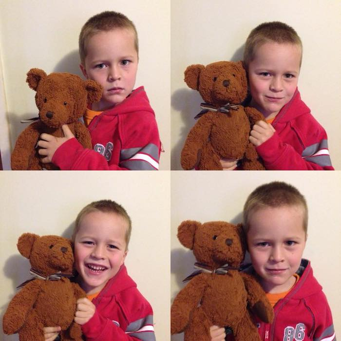 Travelling with kids - passport photos with toy bear Jack