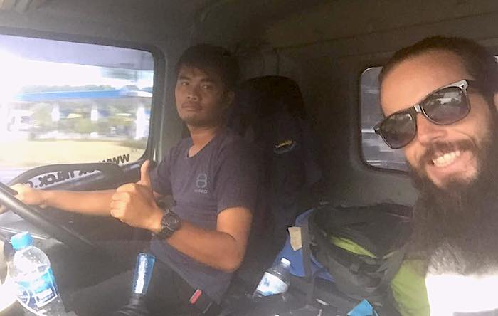 Lessons from hitchhiking - Jub hitching a ride to Bangkok