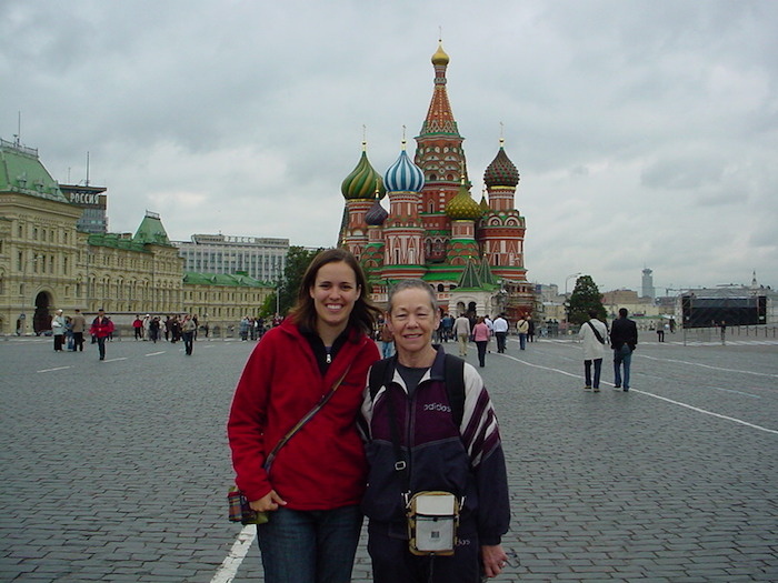 Travelling with your parents at Red Square in Moscow with my mother