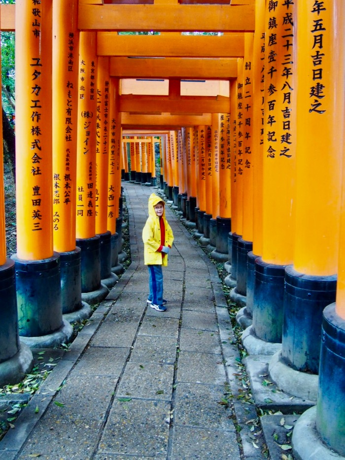 My son walking at Fushimi Inari shrine in Kyoto
