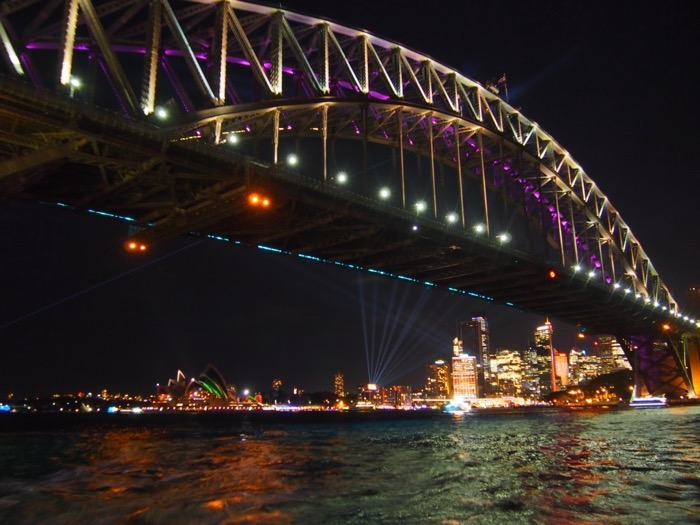 Heading under the Sydney Harbour Bridge during the Vivid Light Festival