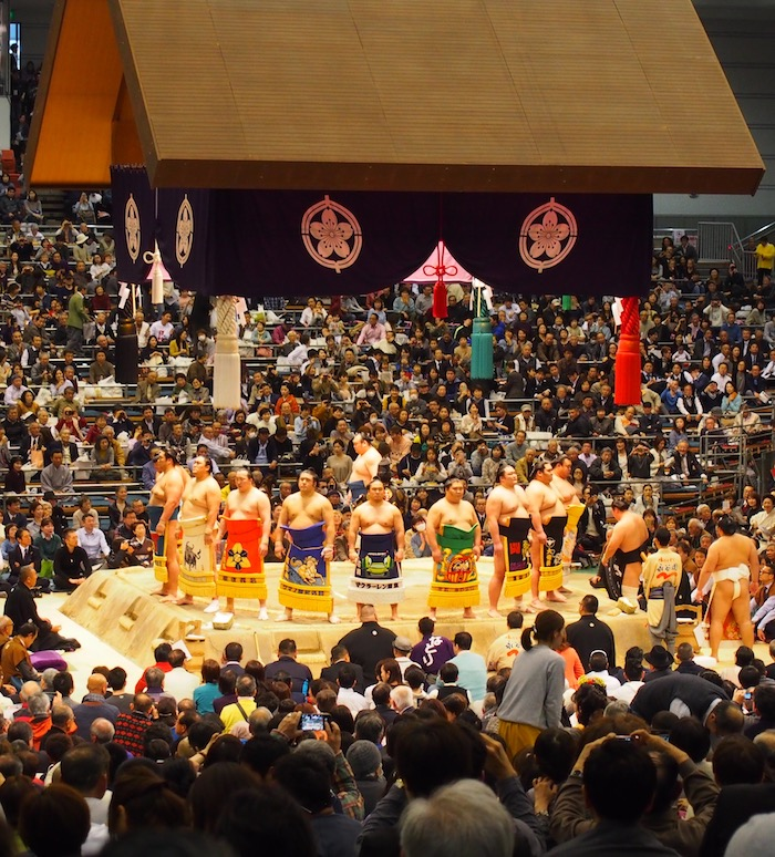 Lots of sumo tradition at the Edion Arena in Osaka, Japan