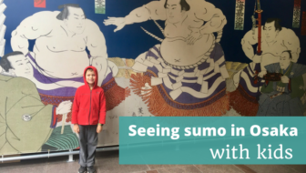 Seeing sumo wrestling with kids in Osaka, Japan