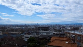 View over Osaka from train near Ikoma