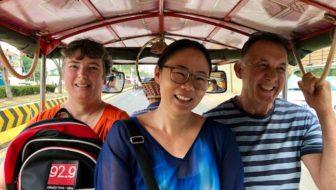 Jen Harland in a tuktuk in Phnom Penh, Cambodia