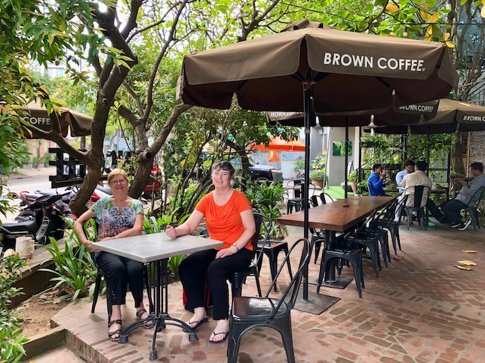 Jen at Brown Coffee in Phnom Penh in Cambodia