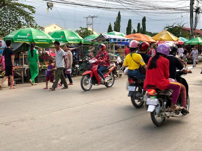 Market stalls and traffic in Phnom Penh