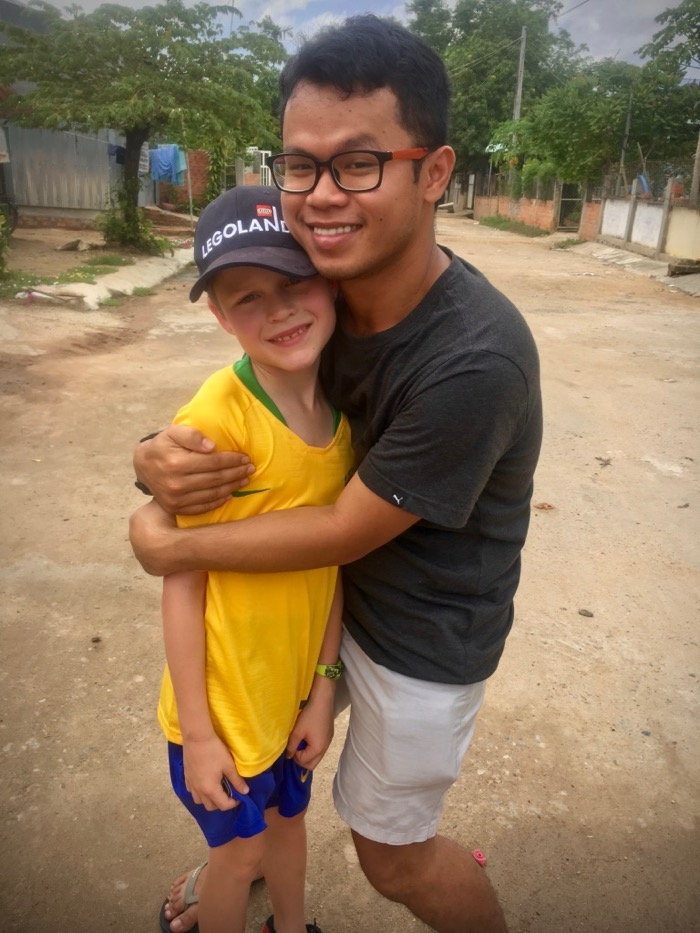 My son with our Cambodian guide Cham, now friends for life
