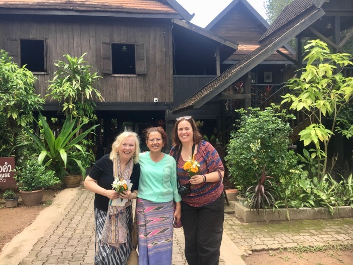 With Caroline Gladstone and Pa Nim making offerings in Nan, Thailand
