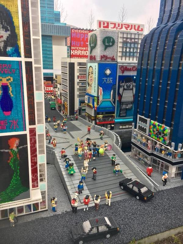 Miniland's version of Osaka's Dotonbori Bridge in Legoland Japan